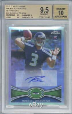 Russell Wilson Signed Auto 2012 Topps Chrome Rookie Refractor #40 BGS 9.5 10