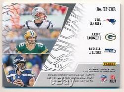 Tom Brady Aaron Rodgers Russell Wilson 2018 Panini Phoenix Triple Auto Patch 4/5