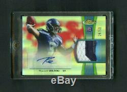 2012 Russell Wilson Topps Finest Rouge Réfracteur Rc 3 Patch Patch Auto / 50 Sp