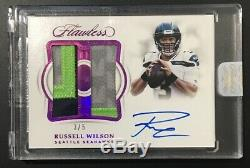 2019-19 Flawless Seahawks Russell Wilson Sur Carte Auto 3 Couleurs # 3/5 Jersey #