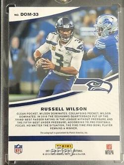 2019 Donruss Russell Wilson Auto / 10 Dominators Rare Autographe Des Seahawks De Seattle