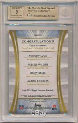Aaron Rodgers Drew Brees Russell Wilson 2014 Supreme Quad Auto Topps 3/5 Bgs 9.5