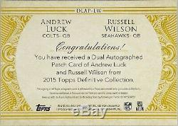Andrew Luck / Russell Wilson Patch Double 2 Couleurs / Auto Sur Carte # / 10 Colts / Seahawks