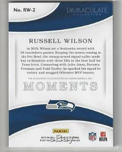 Moments Immaculés 2017 Auto Russell Wilson Seattle Seahawks Wisconsin S / N 4/5