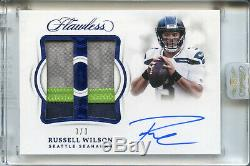 Panini 2018 Impeccable Russell Wilson Emeral Dual Patch Auto 3/3