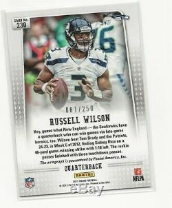 Panini Prizm 2012 Russell Wilson Recrue Auto Seattle Seahawks / 250