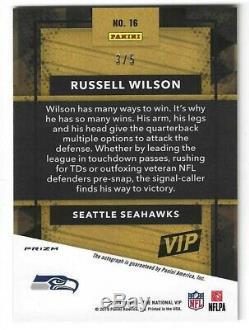 Panini Vip De La Nscc 2019 Russell Wilson Gold Prizm Auto #d 3/5 Numéro De Jersey Seattle