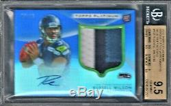 Russell Wilson 2012 Patch 3 Couleurs Topps Platinum Blue Auto Rc / 25 Bgs 9.5 / 10