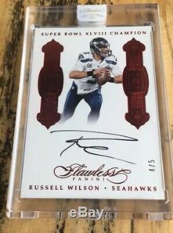 Russell Wilson 2016 Super Bowl Sans Faille Ruby Auto / 5