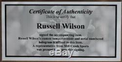 Russell Wilson Autographié Et Bleu Seahawks Jersey Framed Auto Wilson Coa D2-l