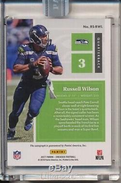 Russell Wilson Box Box Autographe Automatique Automatique 1/1 Seahawks Encadré Panini 2018