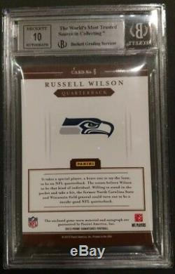 Russell Wilson Patch Prime Prime 3 / Color Auto Rookie Auto 2012 39/99 Bgs 9
