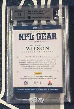Russell Wilson Trésors Nationaux 2012 NFL Combos Rc Rc # 46/49 Bgs 9 10 Auto