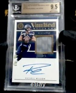Russell Wilson2018 Encased Jersey Patch Auto Bgs 9.5 / 10 Auto # 3/5 Seahawks
